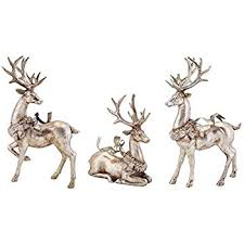set of 3 distressed silver reindeer with wreath table