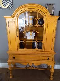 mahogany china cabinet furniture beautiful hand painted distressed marigold yellow mustard antique