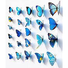 amazon com blue 24pcs 3d butterfly wall stickers decor