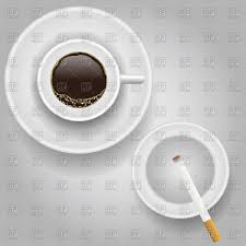 Top Of Coffee Cup Cup Of Coffee And Cigarette With Ashtray Top View Vector Image