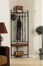 amazon com sei black metal entryway storage bench with coat rack