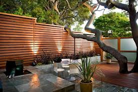 wooden fences for modern japanese patio led outdoor