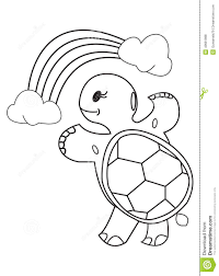 coloring book turtle rainbow and clouds stock illustration