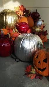painted pumpkins through the front door