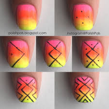 easy nails diy neon pink surfer nail design tutorial youtube