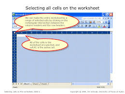 selecting cells on the worksheet to make a cell or range of cells