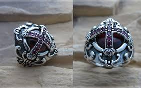 gothic rings men images Men 39 s sterling silver vintage gothic vampire cross ring red jpg