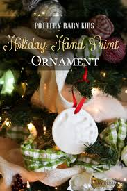 handprint ornaments by pottery barn