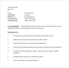 Cnc Machinist Resume Samples by Machine Operator Job Description Machine Operator Resume Sample