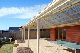 steel framed pergola half colorbond half polycarbonate roof