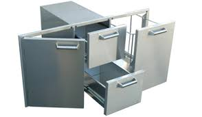 Outdoor Kitchen Stainless Steel Cabinets Built In Doors Drawers Trash Tilt Roll Out And Cooler For
