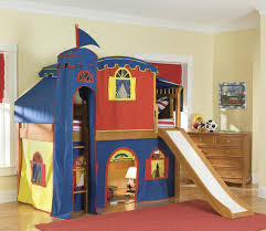 bolton bennington low loft bed with blue and yellow curtain
