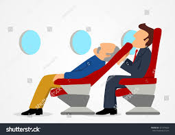 simple cartoon passenger sitting uncomfortable stock