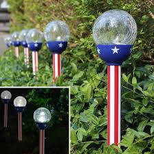 Flag Lights Solar Patriotic American Flag Design 3 15 U201d Crackle Glass Path