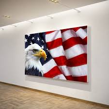 American Flag Home Decor 1 Piece Canvas Art Canvas Painting American Flag Bald Eagle Hd