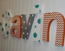 personalized kids decor ribbon letters orange gray baby boy