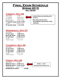 final exam schedule 2015 sonora high