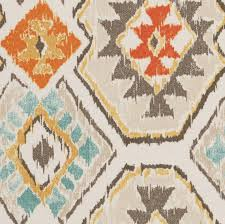 Drapery Material Crossword Aqua Orange Brown Ikat Upholstery Fabric By The By Popdecorfabrics