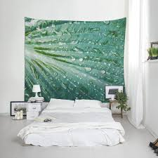 Bedroom Tapestry Wall Hangings Leaf Wall Hanging Nature Tapestry Fabric Printing Green Decor