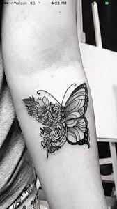 flower butterfly tatoos and
