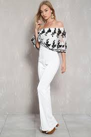 white formal jumpsuit white black lace the shoulder flared dressy jumpsuit