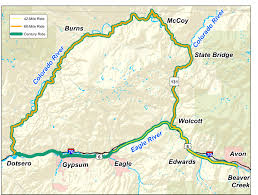 Road Map Colorado by River Ride And Roadhouse Mountain Bike Routes