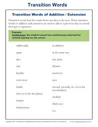 transition words and phrases lists and worksheets k12reader