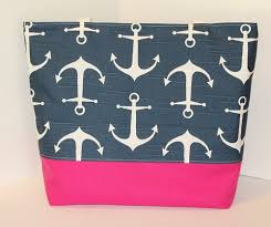 nautical tote nautical tote bag in anchors navy blue and pink standard