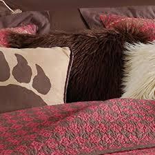 Faux Fur Comforter Rushmore Rustic Scarlet Quilt Set