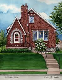 Tudor Style House Watercolor Custom House Portrait Of Brick Tudor In St Louis