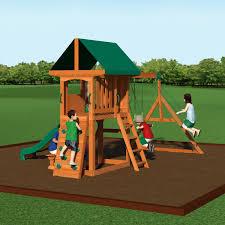 wood swing sets play mor 569 friendly fortress wooden swing set