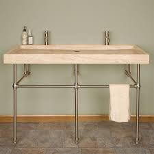 Trough Bathroom Sink With Two Faucets by 48