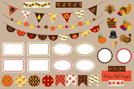 thanksgiving bunting label clipart patterns creative market