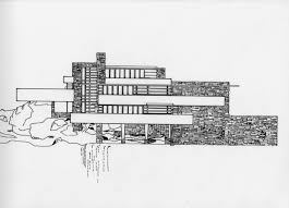 falling water elevation architectural drawing pinterest