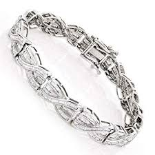 diamond bracelet ladies images Luxurman ladies 14k unique womens baguette cut 4 ctw jpg