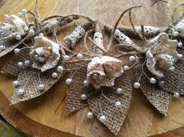 burlap boutonniere 5 burlap boutonnieres with cotton lace flowers and glass pearl