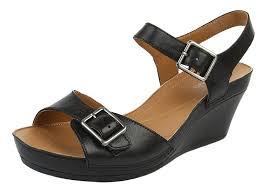 clarks rusty art womens ankle strap black black leather 8 uk