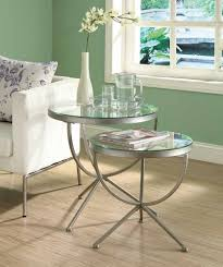 glass furniture amazon com monarch round satin nesting tables with tempered glass