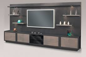 furniture entertainment center with thick wooden shelves and
