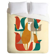 budi kwan flock of bird beige duvet cover deny designs home
