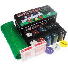 card game table cloth texas hold em poker set 200 chips dealer blinds playing cards table