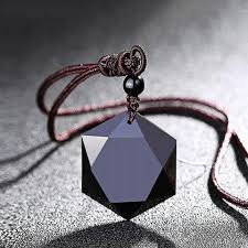 long black pendant necklace images Black obsidian cubic hexagram no negativity pendant necklace jpg