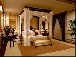 romantic luury master bedroom tagged with bed canopy curtains and