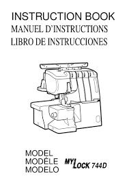manual de instrucciones mylock744 d janome maquina overlock