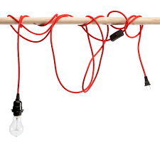 Red Pendant Light by Red Nylon Braided Cloth Covered Light Cord