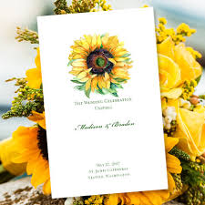 make your own wedding program printable wedding program sunflower foldover