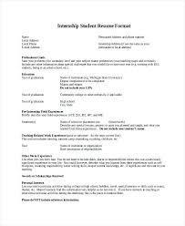 97 College Internship Resume Sample by Sample Student Resume For Internship 9 Sample Student Resumes