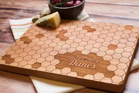 personalized wedding cutting board personalized wooden cutting board geometric honeycomb pattern