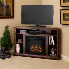tv stands dark brown polished wooden corner electric fireplace