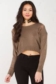 distressed cropped sweater in olive